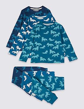 3 Pack Pure Cotton Pyjamas (1-7 Years), AQUA MIX, catlanding
