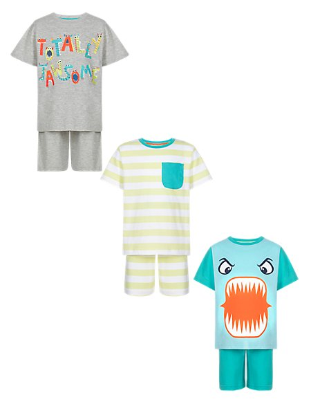 3 Pack Cotton Rich Assorted Short Pyjamas (1-7 Years)