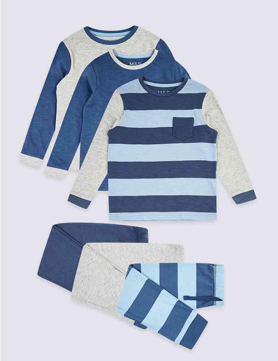 3 Pack Striped Pyjamas (1-7 years)  cb5ae0927