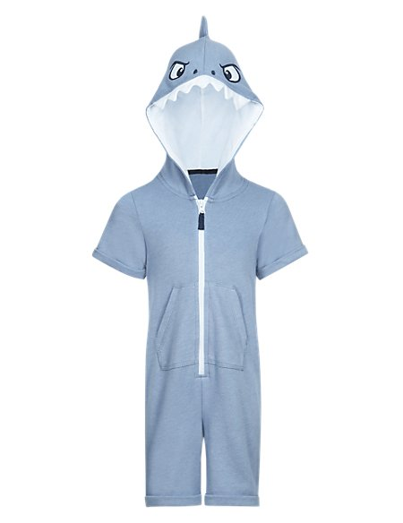 Shark Hooded Short Playsuit (1-7 Years)