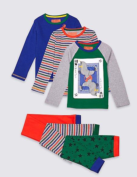 3 Pack Printed Pyjamas (9 Months - 8 Years)