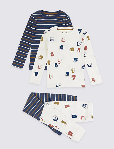 2 Pack Cotton Striped & Numbers Pyjama Set (1-7 Years)