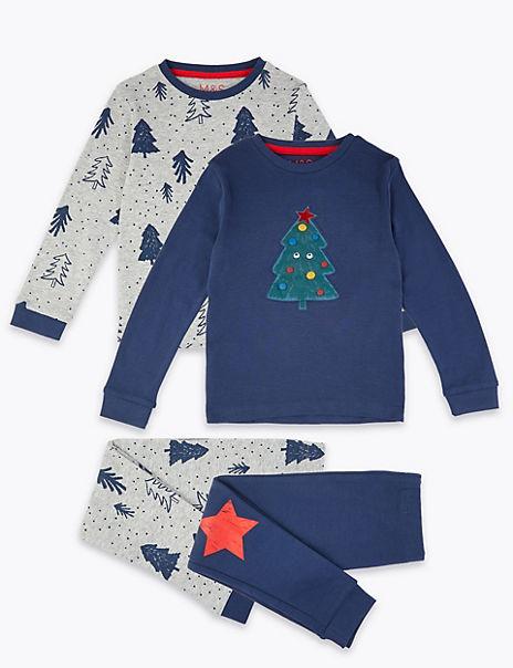 2 Pack Christmas Tree Print Pyjama Set (1-7 Years)