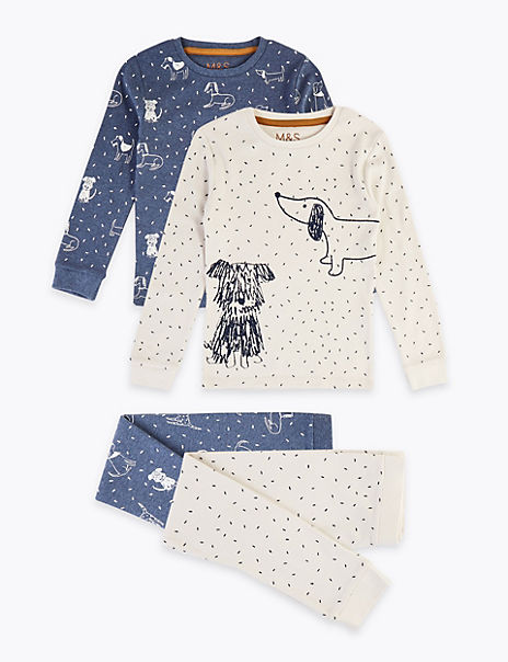 2 Pack Cotton Dog Print Pyjama Sets (1-7 Years)