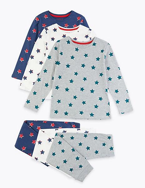 3 Pack Star Print Pyjama Set (1-7 Years)