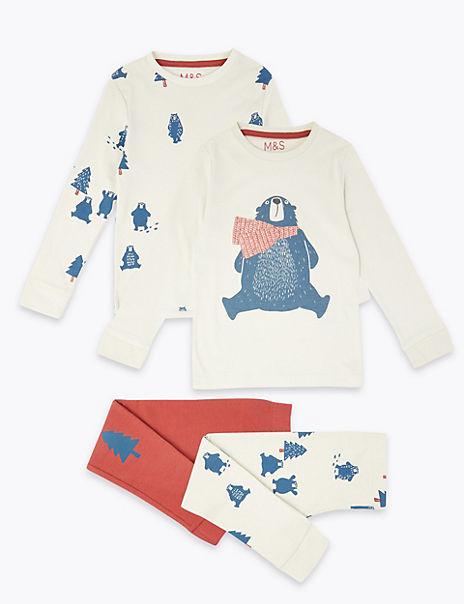 2 Pack Cotton Polar Bear Print Pyjama Set (1-7 Years)
