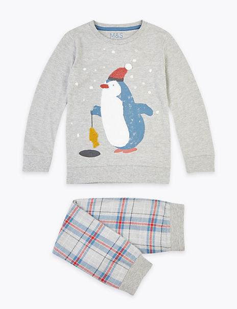 Penguin Print Checked Pyjama Set (1-7 Years)