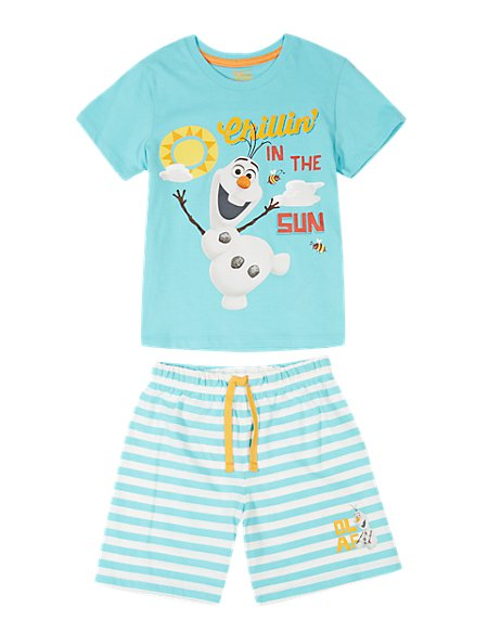 Pure Cotton Disney Frozen Short Pyjamas (1-8 Years)