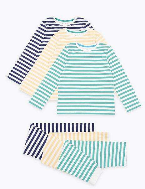 3 Pack Cotton Striped Pyjama Sets (1-7 Years)