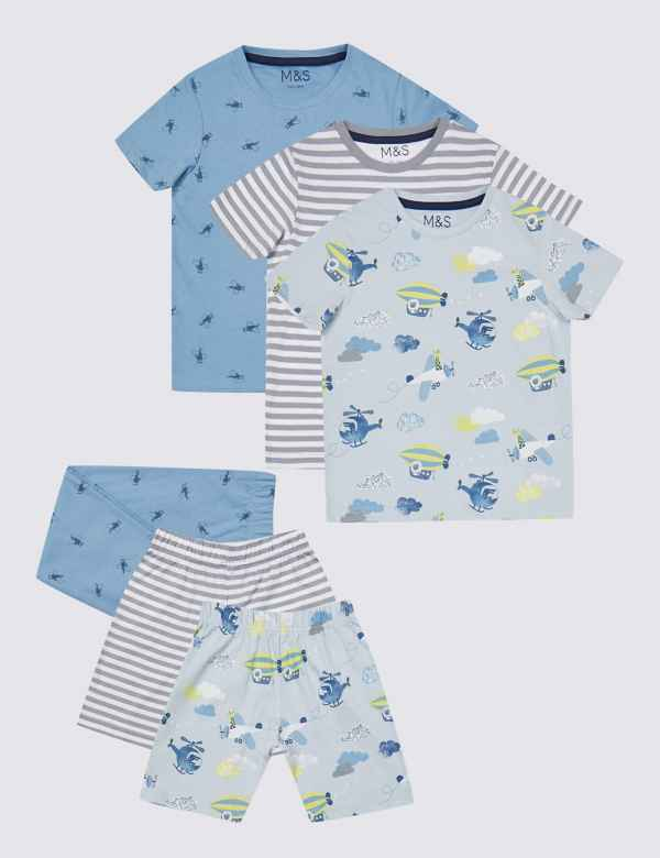 3 Pack Pure Cotton Short Pyjamas (1-7 Years) 4410122c1