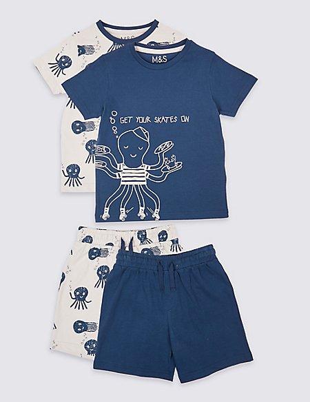 2 Pack Pure Cotton Short Pyjamas (1-7 Years)