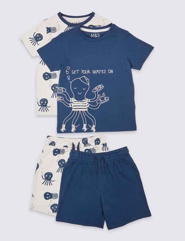 b3d35b199be 2 Pack Pure Cotton Short Pyjamas (1-7 Years)