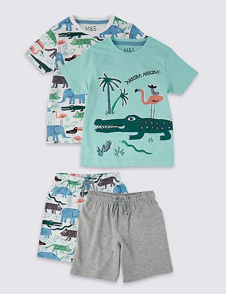 2 Pack Animal Short Pyjamas (18 Months - 7 Years)