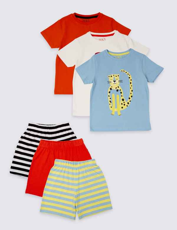 f516c87a4e8 3 Pack Pure Cotton Short Pyjamas (1-7 Years)