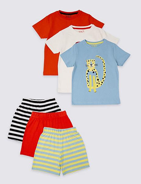 3 Pack Pure Cotton Short Pyjamas (1-7 Years)