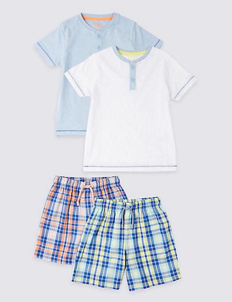 2 Pack Checked Short Pyjamas (1-7 Years)