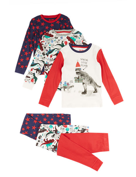 3 Pack Pure Cotton Assorted Stay Soft Pyjamas (1-8 Years)