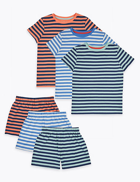 3 Pack Pure Cotton Striped Short Pyjama Sets (1-7 Yrs)