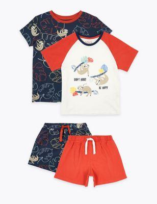 2 Pack Sloth Print Short Pyjama Sets (1-7 Yrs)