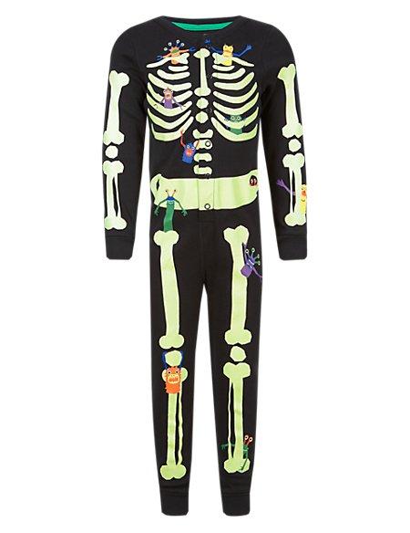 Pure Cotton Skeleton & Monster Glow in Dark Onesie (1-7 Years)