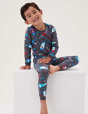 Pijama de algodón con diseño del espacio (1-7años)