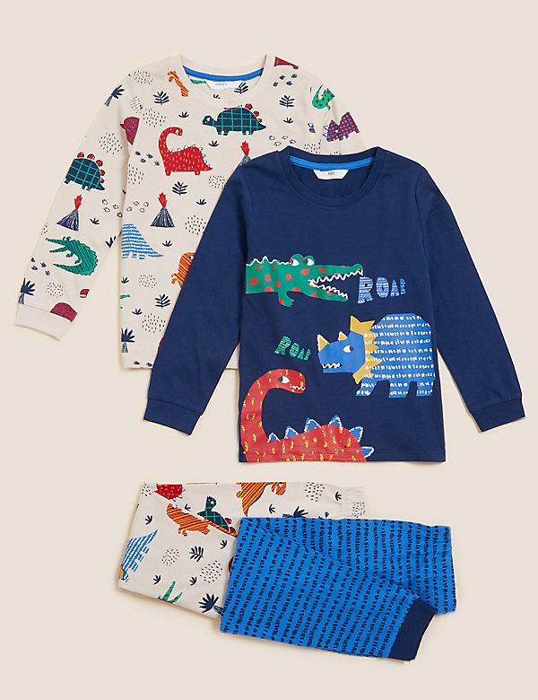 Set van 2 pyjama's van zuiver katoen met dinosaurusmotief (1-7 jaar)