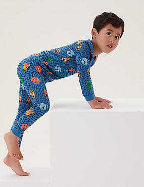 Pijama de algodón con estampado animal (1-7años)