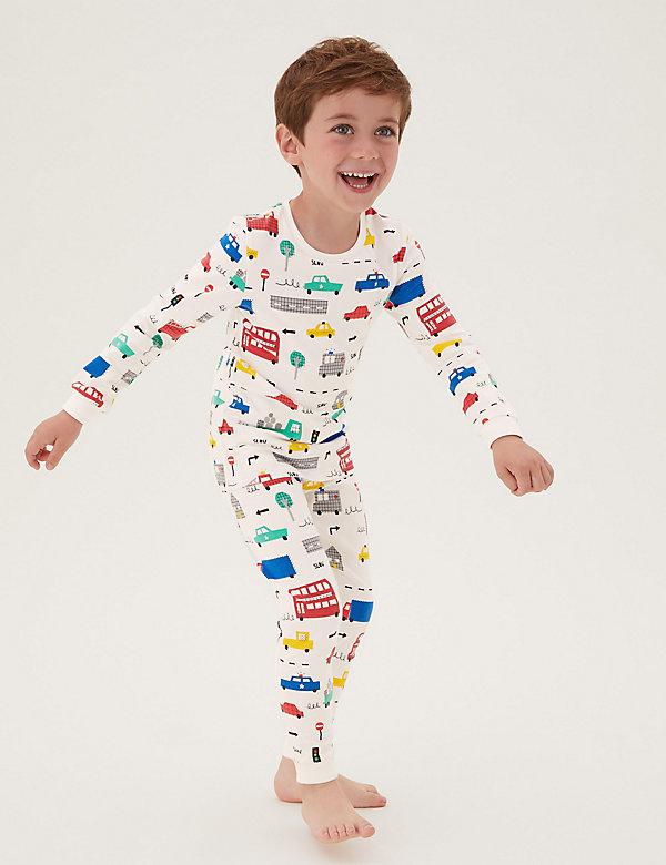 Katoenen pyjama met transportmotief (1-7 jaar)