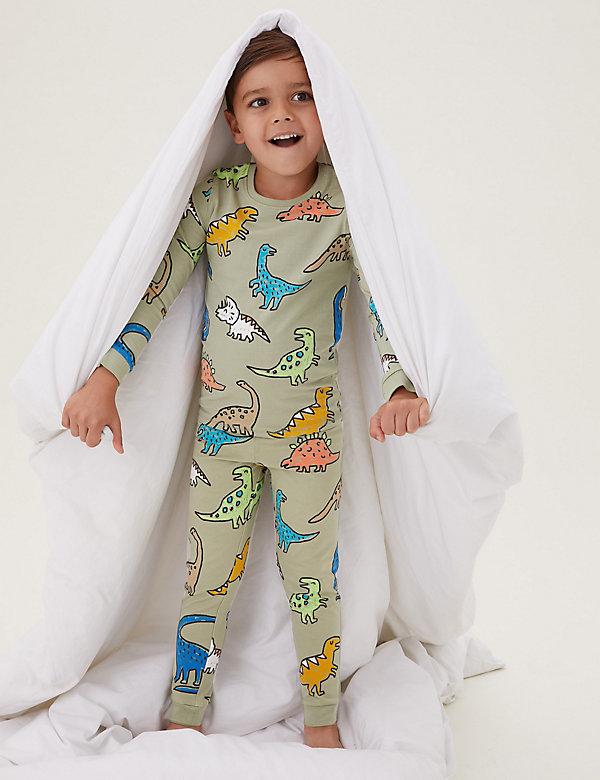 Katoenen pyjama met dinosaurusmotief (1-7 jaar)