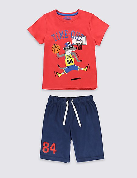 Pure Cotton Raccoon Basketball Short Pyjamas (1-8 Years)