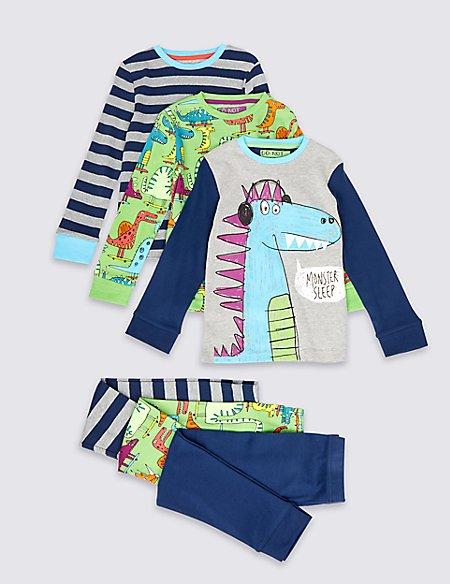 3 Pack Cotton Rich Dino Striped Pyjamas (1-8 Years)