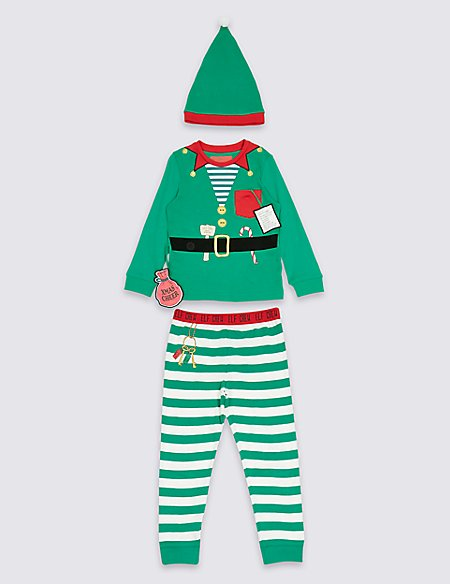 6e3db1878 Pure Cotton Elf Pyjamas with Hat (9 Months - 8 Years)