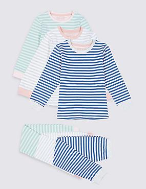 3 Pack Pyjamas (1-7 Years), MEDIUM BLUE, catlanding