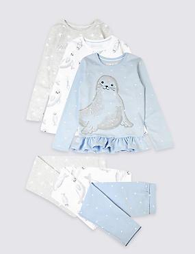3 Pack Cotton Pyjamas with Stretch (1-7 Years), MULTI, catlanding
