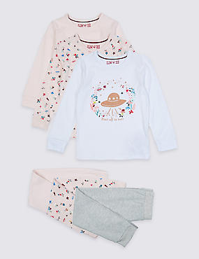3 Pack Cotton Pyjamas with Stretch (1-7 Years), LIGHT PINK, catlanding