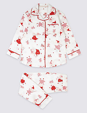 Pure Cotton All Over Print Pyjamas (1-7 Years), RED MIX, catlanding