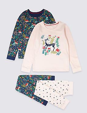 2 Pack Pure Cotton Pyjamas (1-7 Years), PINK MIX, catlanding
