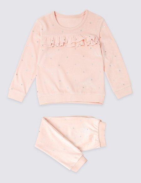 Velour Ruffle Pyjamas (1-7 Years)