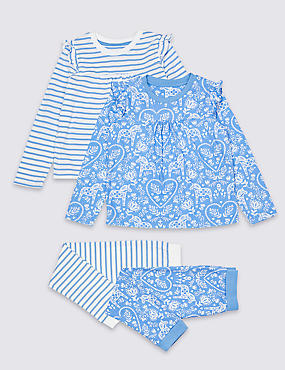 2 Pack Floral Striped Pyjamas (1-7 Years)