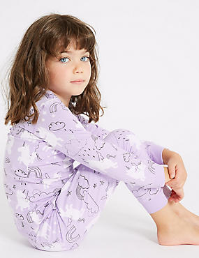 Cotton Pyjamas with Stretch (1-7 Years), PURPLE, catlanding