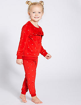 Velour Ruffle Pyjamas (1-7 Years)