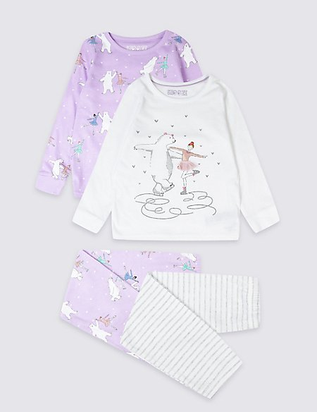 2 Pack Skating Bear Pyjamas (1-7 Years)