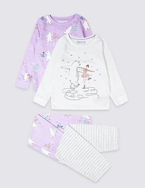 2 Pack Skating Bear Pyjamas (1-7 Years), ORCHID, catlanding