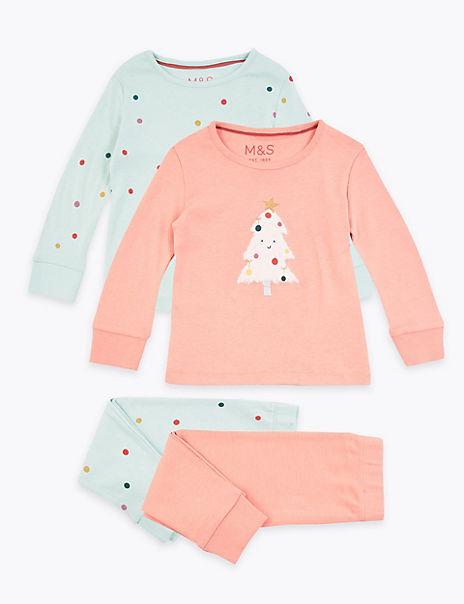 2 Pack Christmas Tree Pyjamas (1-7 Years)