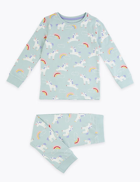 Unicorn & Rainbow Print Pyjama Set (1-7 Years)