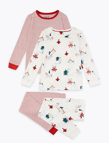 2 Pack Festive Scene Pyjamas (1-7 Years)