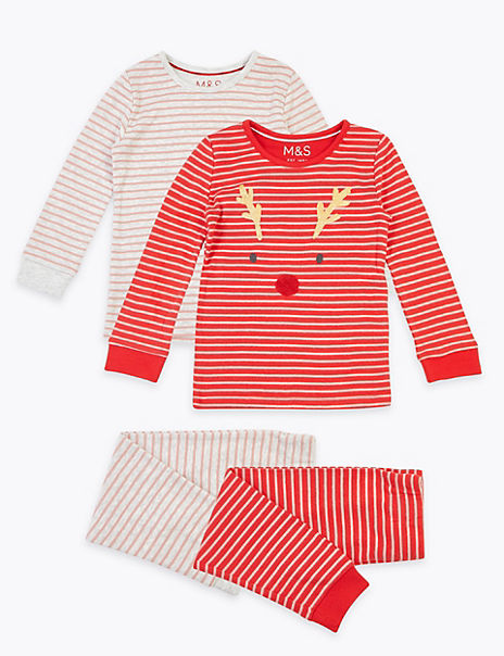 2 Pack Reindeer & Striped Pyjama Sets (1-7 Years)