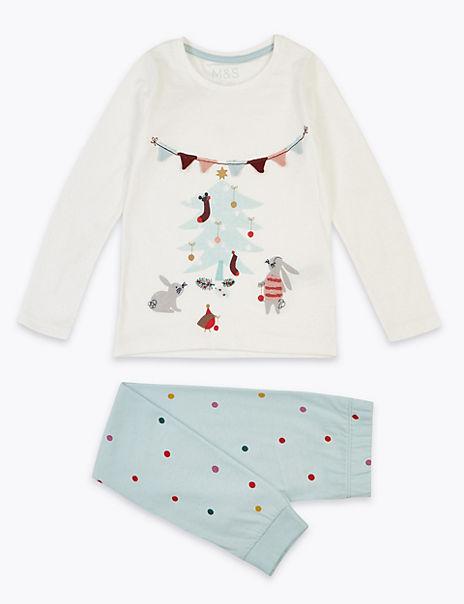 Cotton Christmas Bunny Pyjamas (1-7 Years)
