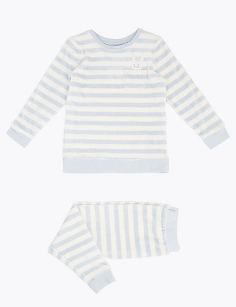 Velour Striped Embroidered Bunny Pyjama Set (1-7 Years)