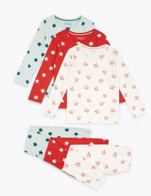 3 Pack Cotton Star Print Pyjama Set by Marks & Spencer